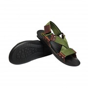 Summer Men Beach Shoes Breathable Sandals Genuine Cowhide Leather Slippers Army Green