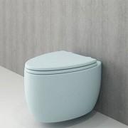 Toiletpot Hangend Privada 53x39,5x40cm Wandcloset Keramiek Diepspoel Nano Coating EasyClean Glans Baby Blauw met Softclose Toiletbril