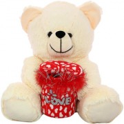 DealBindaas Marshy Bear Valentine Soft Toy Cream 30 Cms
