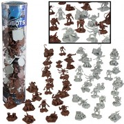 Robot Action Figure Bucket - 52 Ready for Battle Toy Figures - With 14 Unique Characters - Great for party faors, decorations and theme parties