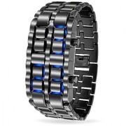 Bling Jewelry Mens Gunmetal Steel Back Faceless Lava Blue Watch Alloy