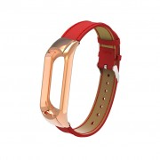 Genuine Leather Watch Wrist Band for Xiaomi Mi Smart Band 4 / Mi Band 3 - Red