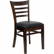 Flash Furniture Wood Chair with Padded Seat/Ladder Back - Walnut Finish/Black Vinyl, 800-Lb. Capacity, 17 1/2Inch W x 20.Inch D x 33 3/4Inch H, Model