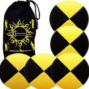 5x Pro Thud Juggling Balls - Deluxe (SUEDE) Professional Juggling Ball Set of 5 with Fabric Travel Bag! (Black/Yellow)