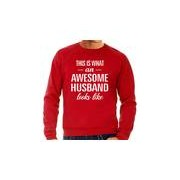 Bellatio Decorations Awesome husband / echtgenoot cadeau sweater rood heren