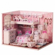 Cuteroom Kits DIY Wood Dollhouse miniature with Furniture Doll house room Angel Dream