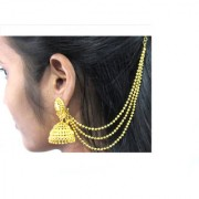 Golden Jhumka with Golden Ear Chain Earring
