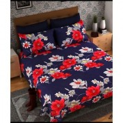craftwell red and grey flowers on blue base double bedsheet with 2 pillow covers