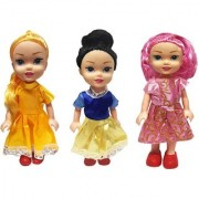 Emob 3 Pretty Sisters Dolls with Beautiful Hairs and Moveable Body Parts for Kids (Multicolor)