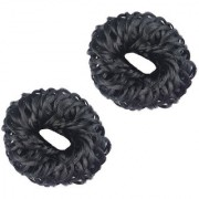GadinFashion Fancy Rubber Juda Hair Band For Women And Girls Juda Accessories For Women Set Of 2 (Black)