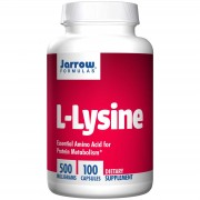 L-Lysine 500 mg (100 Capsules) - Jarrow Formulas