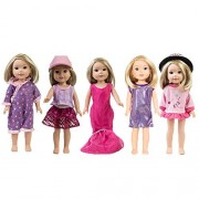 Clothes for American Girl Dolls:- 5set+1hat for 14.5inch Wellie Wisher Dolls by TWBB