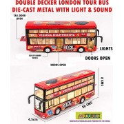 TOY-STATION Die CAST Metal Double Decker London Bus Play Toy Set with Lights and Sound for Kid's (Red)