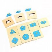 New Home Edition Montessori Math Toys Wood Geometry Shape Insets Set.