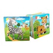 Wooden 3D Jigsaw Puzzle Kids Educational Learning Developmental Cartoon Toy Set of 12 Puzzles (Wild Animals)