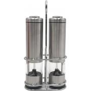 Elektrische peper- en zoutmolen - RVS - LED verlichting - houder - Verstelbare maalgraad - Zilver - Afsluitbaar - Set