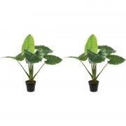 Shoppartners 2x Groene Colocasia/taro kunstplanten 90 cm in zwarte pot