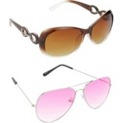 Hrinkar Over-sized Sunglasses(Brown, Pink)