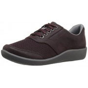 Clarks Women's Sillian Emma Walking Shoe, Aubergine Synthetic, 6 W US