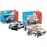 Maven Gifts Playmobil City Action Playset Bundle with Police Cruiser Playset and Ambulance Playset