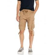 SOUTHPOLE Pantalones Cortos para Hombre con Bolsillos Cargo en Colores sólidos y Camuflaje, Wheatnew, Medium
