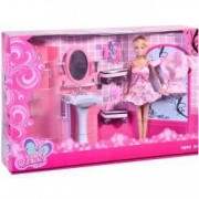 Jucarie set complet baie papusa blond roz mobiliier accesorii