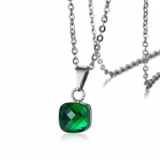 Collares Colgantes De Moda Venico De Vidrio Joyerìa De Mujer - Verde