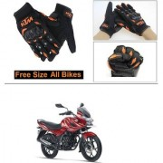 AutoStark Gloves KTM Bike Riding Gloves Orange and Black Riding Gloves Free Size For Bajaj Discover 150 f