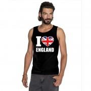 Shoppartners Zwart I love Groot-Brittannie fan singlet shirt/ tanktop heren