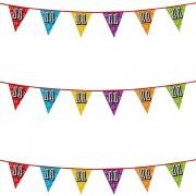 Merkloos 3x stuks vlaggenlijnen glitters 11 jaar thema feestartikelen