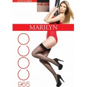 Marilyn - Elegant hold ups with subtle checked pattern Coco 20 denier