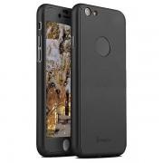 iPaky helomslutande skal med härdat glas, iPhone 6/6S, svart