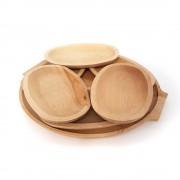 Set 6 farfurii din lemn si un platou pentru servit