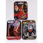 3 Mini Puzzles in Tin Cases Bundle: Star Wars: The Force Awakens & Batman vs. Superman & Ultimate Spiderman