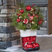 "36"" (91cm) Large Santa Floral Boot Arrangement with Lights Christmas Decoration"