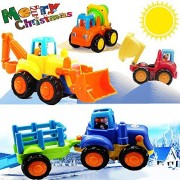 Friction Powered Cars Push and Go Car Construction Vehicles Toys Set of 4 Tractor,Bulldozer,Cement Mixer Truck,Dumper Push Back Cartoon Play for 1 2 3 Years Old Boys Toddlers Kids Gift by ToyMerry