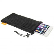 HAWEEL Nylon Mesh Pouch Bag with Stay Cord for iPhone7 Plus / iPhone 6 Plus / 5.5 inch Mobile Phone Size: 18.5cm x 9cm(Black)