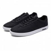 3302 Lino Casual Lace-Up Hombre Zapatos de lona - Negro (# 40)