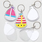 Sailing Boat Blank Keyrings - 6 Plastic Transparent Keyrings to paint. Each kit includes 3 blank inserts and 1 plastic insert. 5.5cm x 4.5cm.