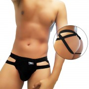Icker Sea Hoops Jock String Jock Strap Underwear Black COI-20-01