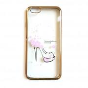 Силиконов гръб - кейс с прозрачен гръб с обувка за iPhone 6 / 6s (ЗЛАТИСТ КАНТ)