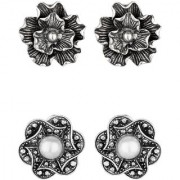 GoldNera Earring Set Antique Silver Designs Light Weight Daily Office Wear White Metal Stud Earring