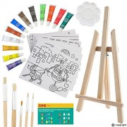 ETI Toys | 26 Pieces Kids Art Painting Set with Wood Easel, Canvases, Bright Color Acrylic Paints, Paint Brushes, Palette and More! Prime Arts Studio For Your Artist Kid! Children Ages 5+ Year Old