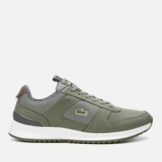Lacoste Men's Joggeur 2.0 318 1 Textile/Leather Runner Style Trainers - Khaki/Dark Grey - UK 8 - Green