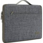 Geanta DOMISO pentru laptop macbook 13 inch cu maner si fermoar dublu compartimentata gri