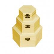 Set 3 cutii lemn natur hexagonale cu capac