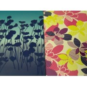 Staples Two Pocket Poly Folder ~ Set of 2 Flower Power (Flower Shadows, Multicolored Decorative Flowers on White)