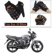 AutoStark Gloves KTM Bike Riding Gloves Orange and Black Riding Gloves Free Size For Hero Glamour