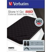 SSD (külső memória), 240GB, USB 3.1 , VERBATIM Store n Go, fekete (SVM240SG)