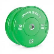 Capital Sports Nipton Bumper Plate Viktskiva 10kg Hårdgummi Grön